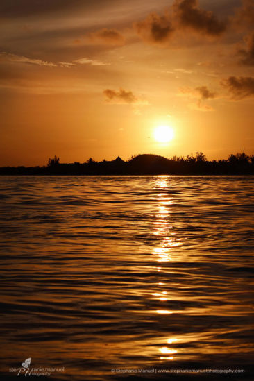 Golden sunset on the southern coast of Mauritius