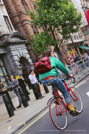 The London biker, colourful street style