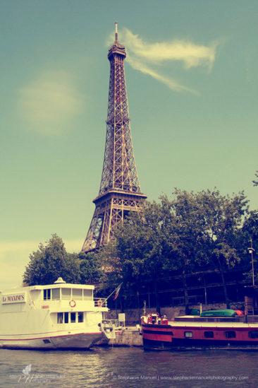 Eiffel Tower from la Seine, Paris, France