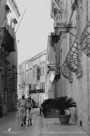 Couple scene, black and white, Malta